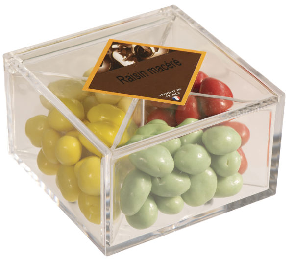 boîte cadeau de raisins macérés fermée