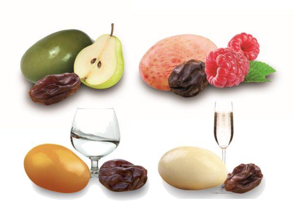 quatre variétés de raisins macérés