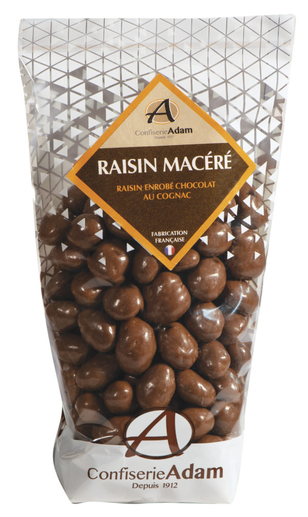 sachet de raisins macérés au chocolat cognac confiserie adam
