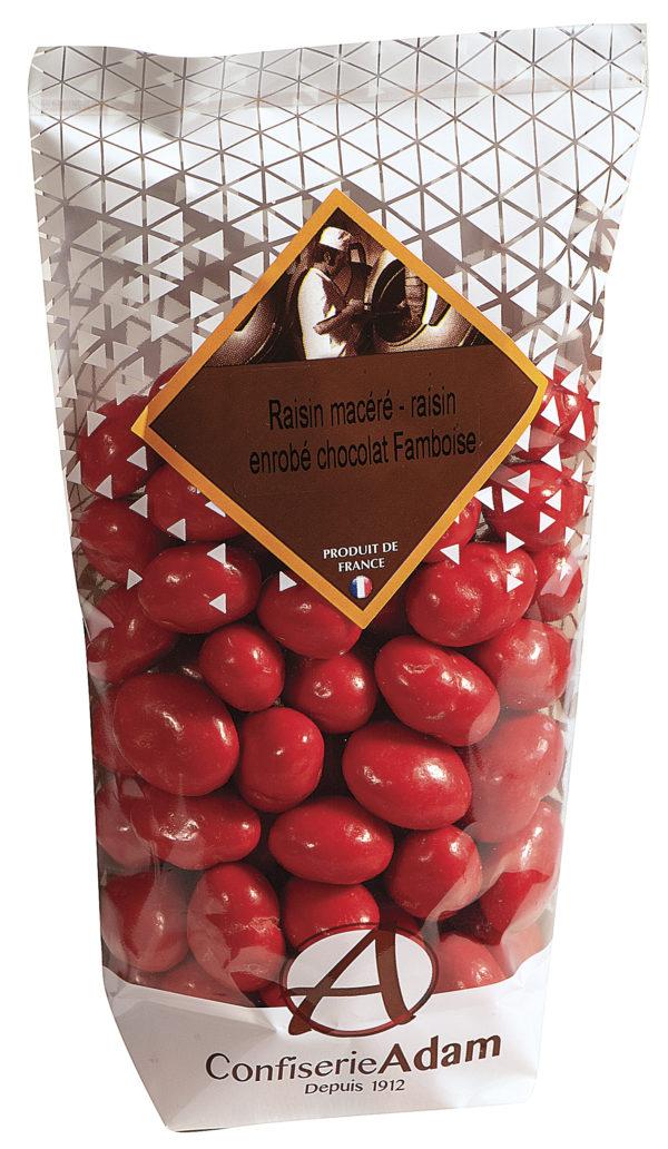sachet de raisins macérés chocolat framboise confiserie adam