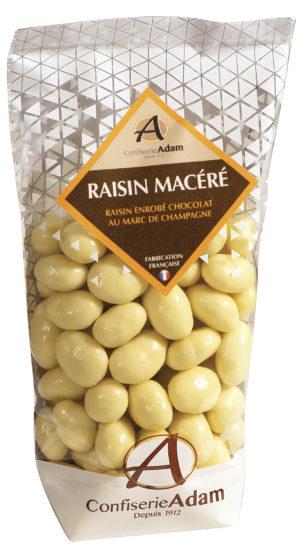 sachet de raisins macérés au chocolat au marc de champagne confiserie adam