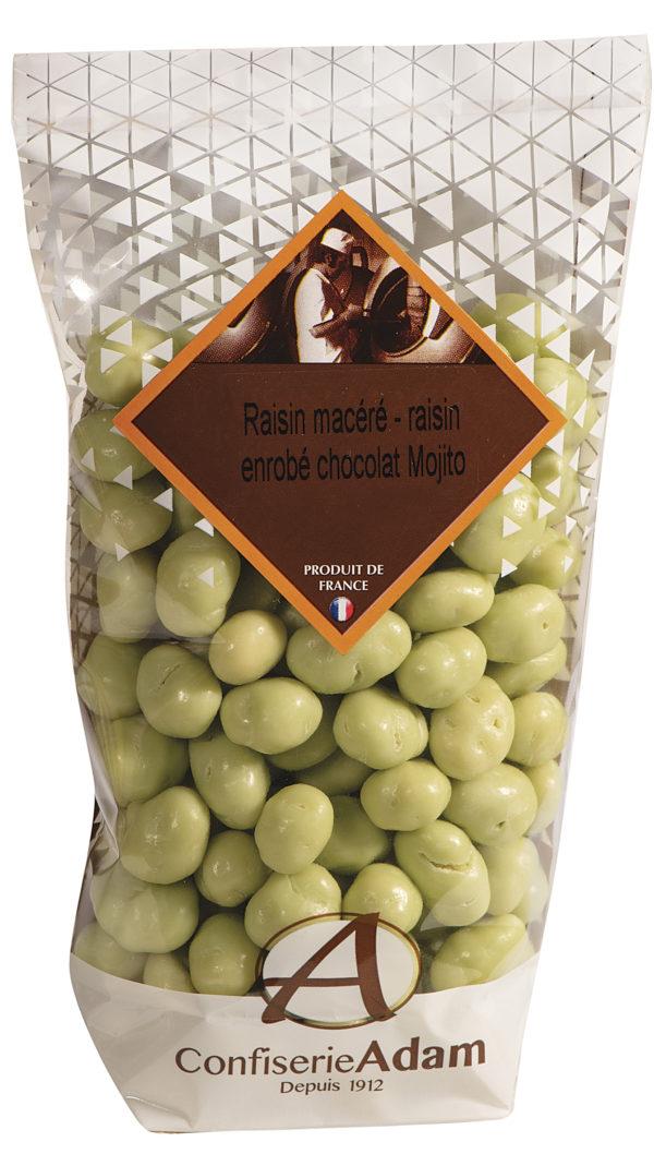 sachet de raisins macérés chocolat Mojito confiserie adam