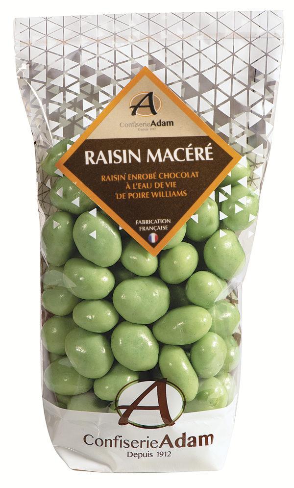 sachet de raisins macérés chocolat à l'eau de vie de poire William confiserie adam